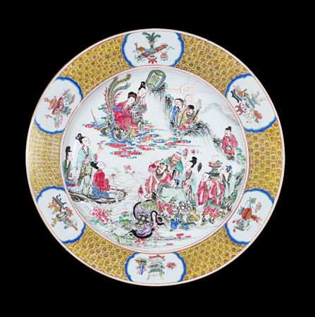 chinese porcelain famille rose charger showing the peach banquet