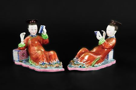 sold - pair of chinese nodding head figures