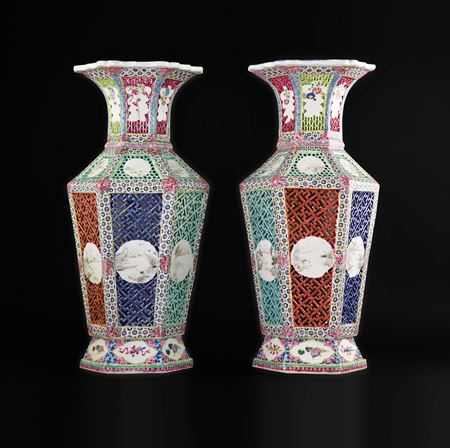 pair of chinese porcelain reticulated famille rose vases