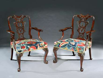 A Fine Pair of George III Carved Mahogany Armchairs of Exceptional Colour and Patination