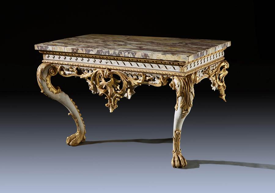 A Fine George II Period White Painted and Gilt Console Table with Breccia Marble Top