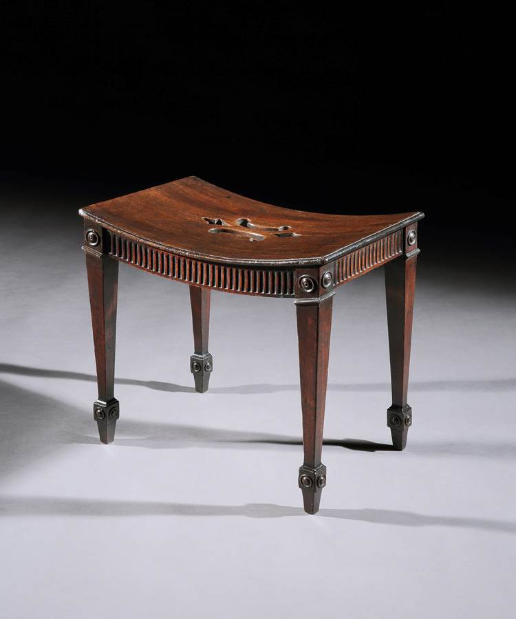 A Rare Mahogany Hall Stool in the Manner of John Linnell