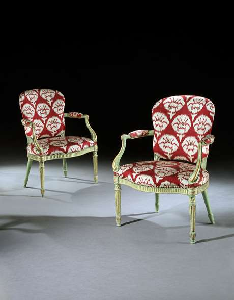 A Pair of Green and Gilt Armchairs attributed to Mayhew and Ince Retaining their original decoration
