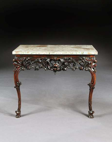 A rare Irish carved mahogany console table with marble top