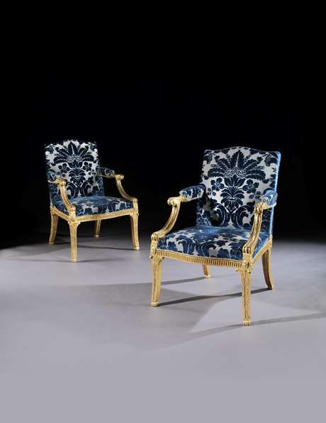A Pair of George III Giltwood Armchairs Attributed to John Linnell