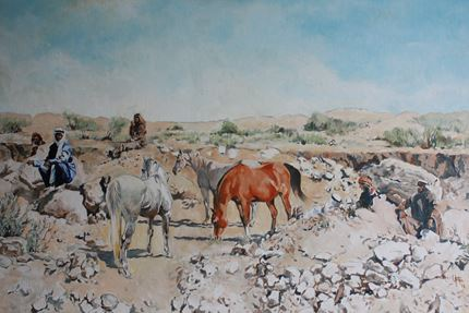 Mares and Bedouin in a Wadi