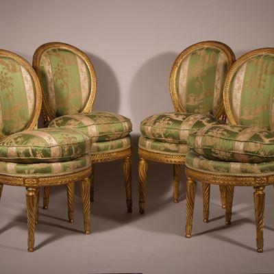 Suite de quatre chaises estampillées par Adrien Dupain