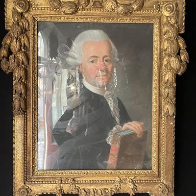 Portrait d'un homme tenant un livre – Pastel signé Pierre Mérelle fils