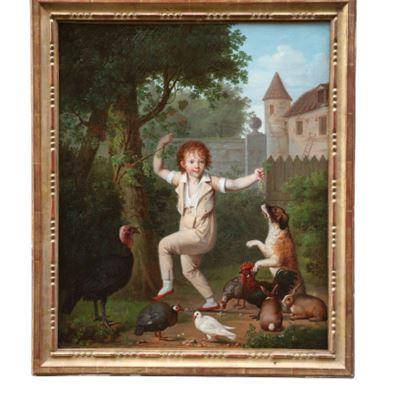 Huile sur toile représentant un enfant