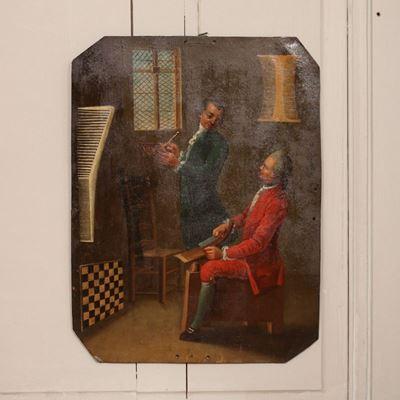 Huile sur métal représentant deux hommes élégants sculptant des peignes