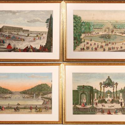 Quatre vues d'optique de Versailles et Marly, XVIIIe siècles