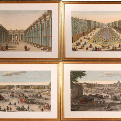 Quatre vues d'optique, dont Versailles, XVIIIe siècle