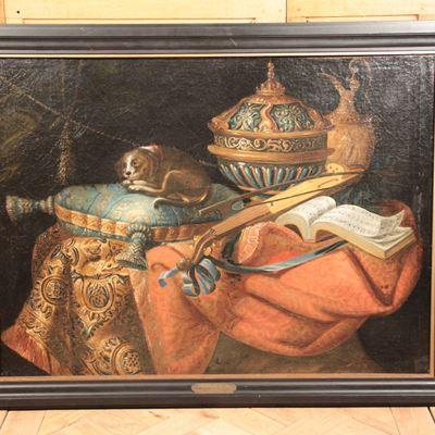 Nature-morte canine avec orfèvrerie, fin du XVIIe siècle- début XVIIIe siècle, école française