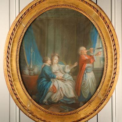 Pastel, Le Marchand de lunettes d'après J.-B Le Prince et Helman, après 1776