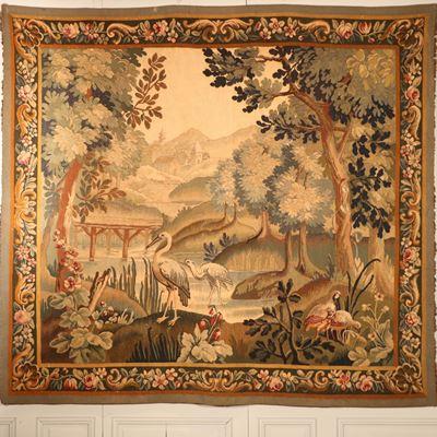 Tapisserie d'Aubusson représentant une scène de nature