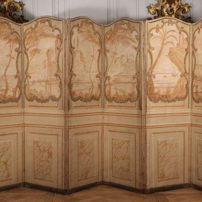 Paravent à six feuilles toile peinte après 1750