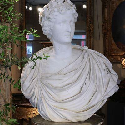 Buste d'Apollon en marbre de Carrare