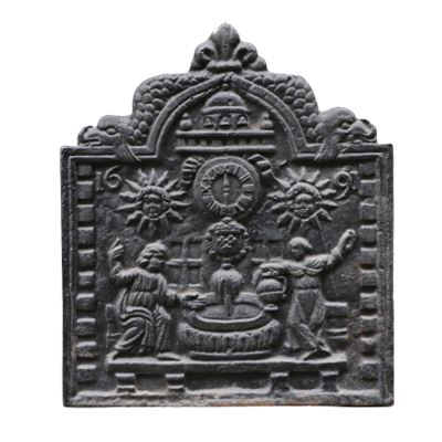 Plaque de cheminée en fonte représentant probablement Socrate et son épouse Xanthippe