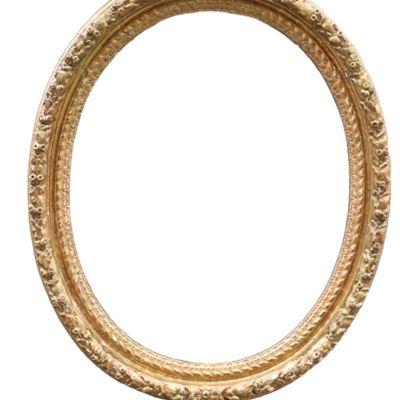 Grand cadre ovale en bois doré formant miroir