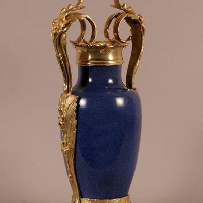 Vase en porcelaine de Chine et similor, vers 1750