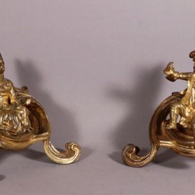 Paire de chenets aux enfants, époque Louis XV