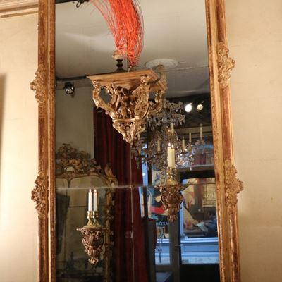Grande glace Louis XIV en bois doré