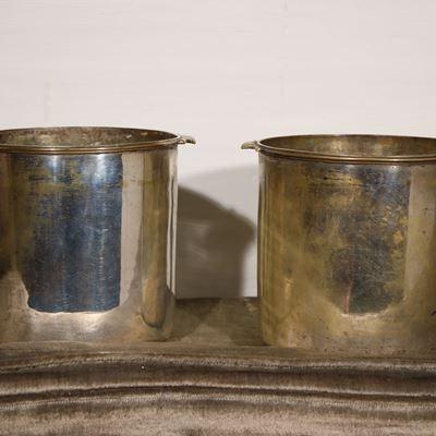 Paire de sceaux à rafraichir en métal argenté