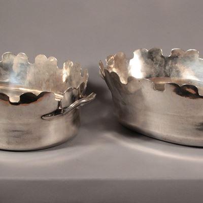 Paire de rafraîchissoir en métal argenté