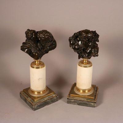 Paire de bronzes, « Le baiser donné » et « Le baiser rendu », modèle de Jean-Antoine Houdon