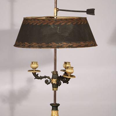 Lampe bouillotte en bronze doré et patiné