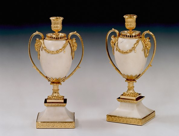 A PAIR OF GEORGE III ORMOLU MOUNTED WHITE MARBLE CANDLE VASES BY MATTHEW BOULTON