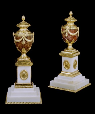 A PAIR OF GEORGE III ORMOLU AND 'TWELVE VEIN' BLUE JOHN 'CLEOPATRA VASE' CANDLESTICKS BY MATTHEW BOULTON