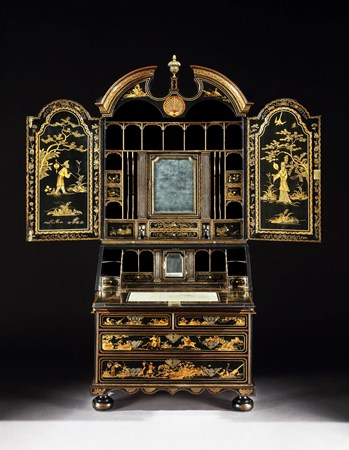 A GEORGE I BLACK JAPANNED BUREAU CABINET ATTRIBUTED TO JOHN BELCHIER