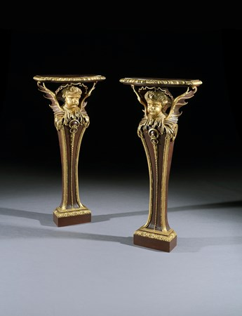 A PAIR OF GEORGE II PARCEL GILT TERMS BY JAMES RICHARDS