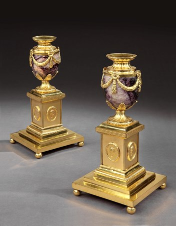 A PAIR OF GEORGE III ORMOLU MOUNTED BLUE JOHN CANDLE VASES BY MATTHEW BOULTON