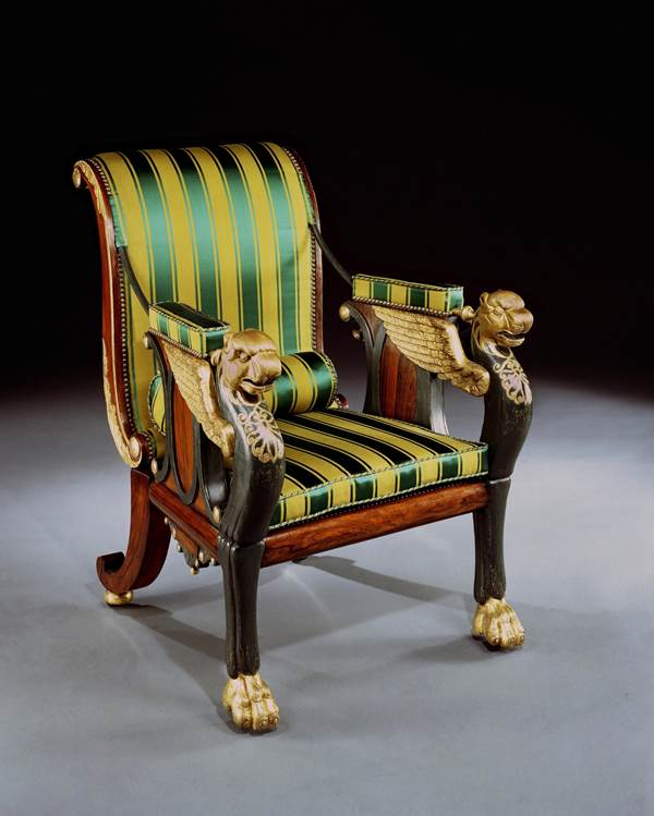 A REGENCY RECLINING CHAIR DESIGNED BY WILLIAM POCOCK
