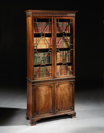 A PAIR OF GEORGE II MAHOGANY BOOKCASES