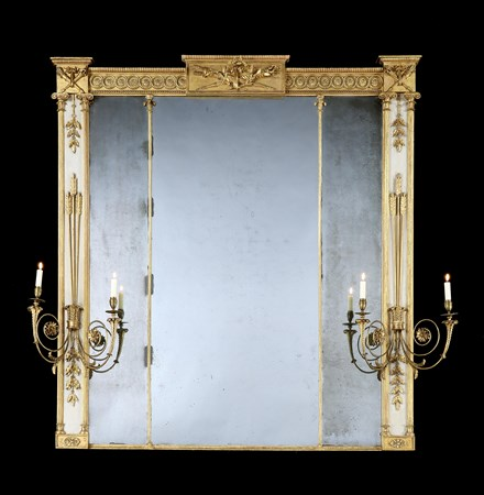 A GEORGE III GILTWOOD AND PAINTED OVERMANTEL MIRROR ATTRIBUTED TO GILLOWS