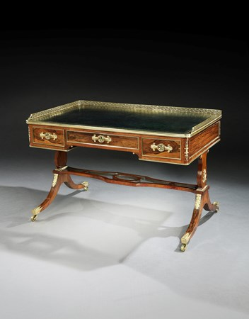 A REGENCY BRASS MOUNTED ROSEWOOD WRITING TABLE ATTRIBUTED TO MARSH & TATHAM
