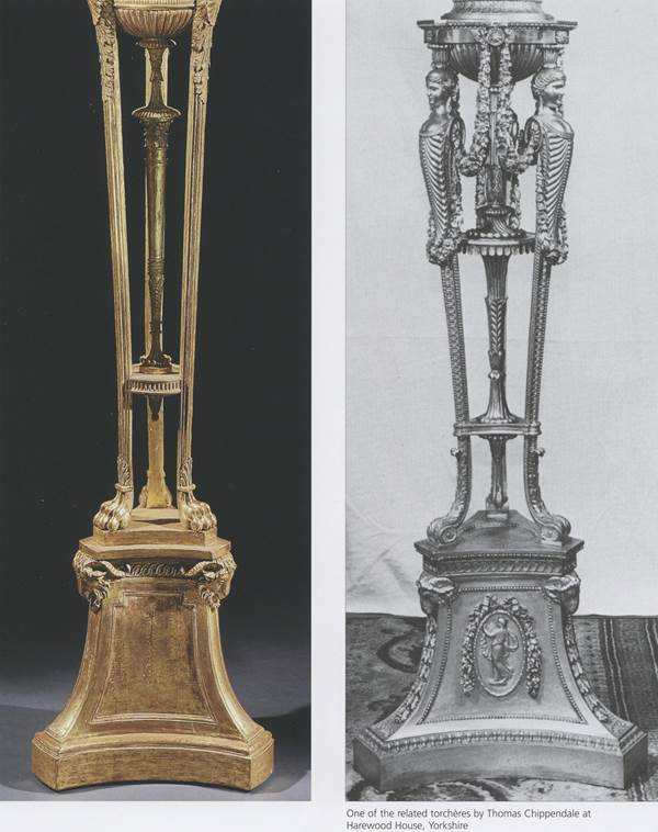 A PAIR OF GEORGE III TORCHÈRES ATTRIBUTED TO ROBERT ADAM AND THOMAS CHIPPENDALE
