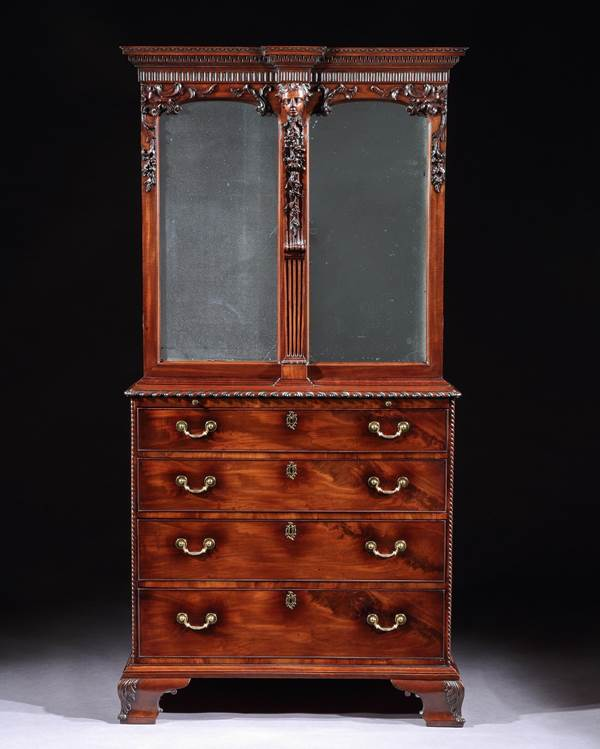 A MAGNIFICENT GEORGE II MAHOGANY CABINET ATTRIBUTED TO WILLIAM VILE