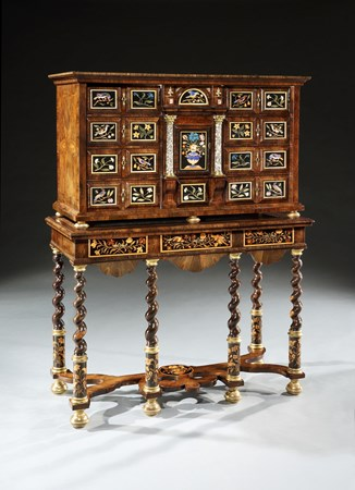 A CHARLES II COCUS WOOD AND PIETRA DURA CABINET ON STAND
