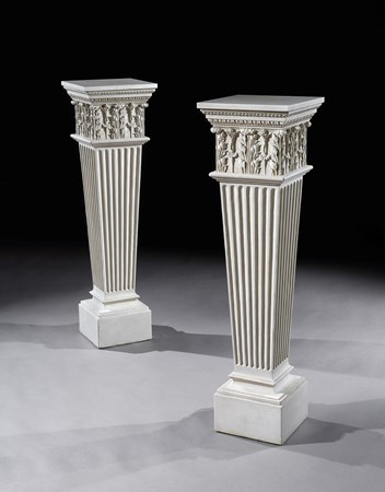 A PAIR OF GEORGE III WHITE PAINTED SQUARE PEDESTALS