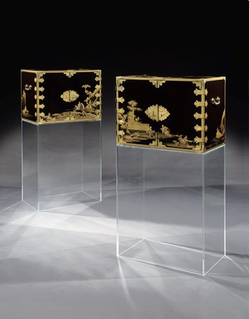A PAIR OF JAPANESE EXPORT  HIGASHIYAMA  PERIOD BLACK AND GOLD DECORATED LACQUER CABINETS