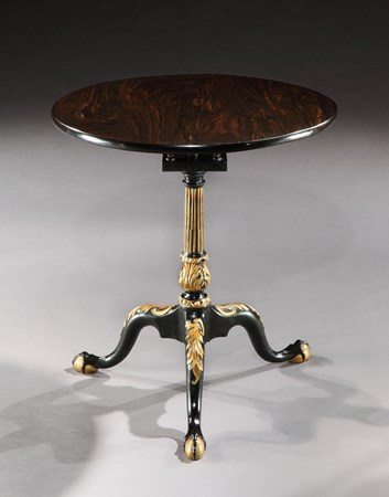 A RARE COLONIAL GEORGE II PARCEL GILT EBONY TRIPOD TABLE
