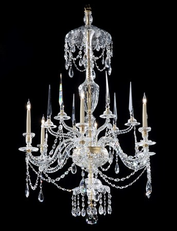 A GEORGE III CUT GLASS SIX LIGHT CHANDELIER ATTRIBUTED TO PARKER & PERRY