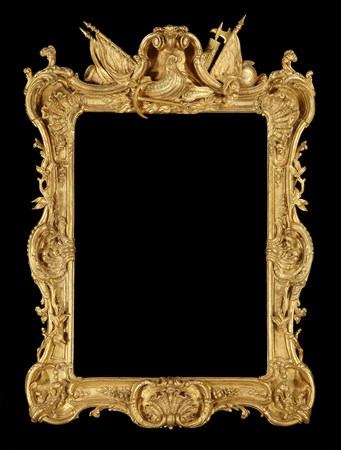 A GEORGE III GLTWOOD ROYAL PICTURE FRAME