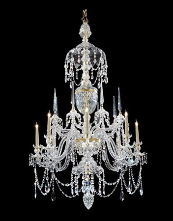 A GEORGE III ORMOLU MOUNTED CUT GLASS EIGHT LIGHT CHANDELIER ATTRIBUTED TO PARKER AND PERRY