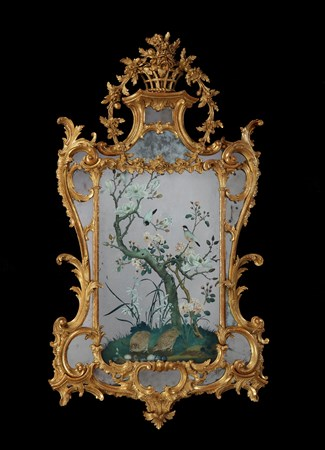 A GEORGE III REVERSE MIRROR PAINTING IN A GILTWOOD FRAME ATTRIBUTED TO JOHN LINNELL
