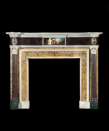 A GEORGE III SIENNA AND STATUARY MARBLE AND FAUX MARBLE CHIMNEYPIECE ATTRIBUTED TO THE WORKSHOP OF GEORGE BROOKSHAW
